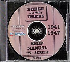 Dodge W Truck CD Repair Shop Manual 1941 1942-1946 1947 Pickup Panel Power Wagon