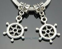 30pcs Tibetan Silver Steering Wheel Dangle Charms Beads Fit Charm Bracelet ZY64