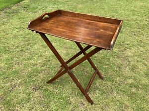 19th Century Oak Butler's Tray on Folding Stand - Country House Hotel - Antique