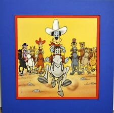 HUCKLEBERRY HOUND COWBOY ROUNDUP Print Professionally Matted Quick Draw Yogi HB