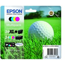 Epson 34XL K, 34 CMY Golf Ball Ink Cartridge C13T34794010 WF-3725DWF 3720 WF NEW