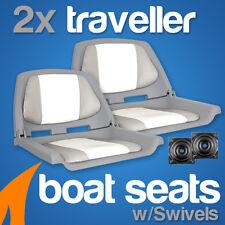 2 x Grey/White Boat Traveller Folding Boat Seats w/ Swivels