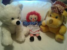 LOT OF (3) STUFFED ITEMS:  RAGGEDY ANN DOLL WITH STUFFED POLAR BEAR AND DOG