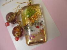 FIONA STUDIO Fused glass gold luster Pendant  Lampwork Foil Earrings  PENDANT