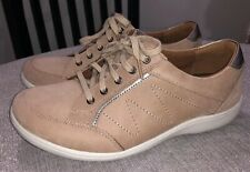 Aravon Womens Bromly Leather Low Top Lace Up Sneakers Tan Sz 9 D $140 New!