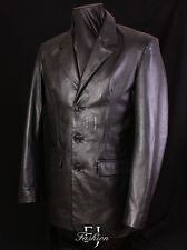 Leather Button Blazers Long Coats & Jackets for Men