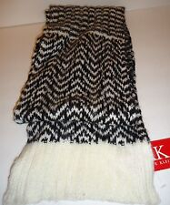 Ladies Women's Long Anne Klein Blk/Ivory Scarf, O/S