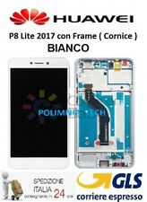 HUAWEI P8 Lite 2017 BIANCO - DISPLAY LCD+TOUCH COMPLETO con FRAME - GLS 24/48 h