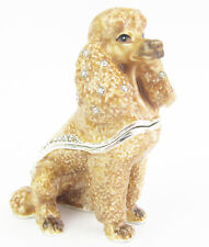Poodle Sitting Dog Jewelled Trinket Box or Figurine - Apricot