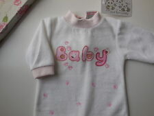 NEW Baby Girl Pink + White Velour Coverall All in One Size 000 Fits 0-3 m *Gift