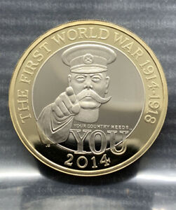 2014  Lord Kitchener PROOF £2 pound Royal Mint coin WWI Outbreak