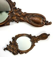 "Large 14.5"" Long Hand Carved Black Forest Frame & Mirror, c. 1880"