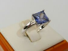 Ladies 925 Sterling Fine Silver 1.5 Carat Princess Cut Tanzanite Solitaire Ring