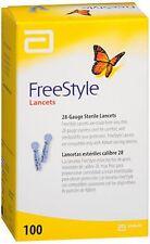 100 disposable Diabetic Lancets Fine FreeStyle 28 gauge by Abbott ~NEW Free Ship