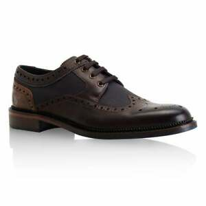 Goodwin Smith Mens Eaves Brown/Grey Leather Derby Brogue Shoes