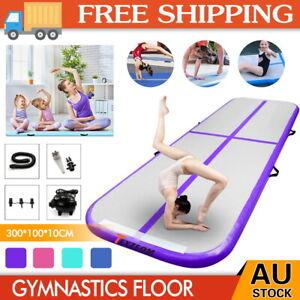3M Air Track Inflatable Gymnastics Tumbling Mat Yoga Mat Floor W/Electric Pump