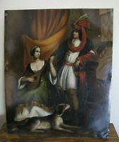 """Antique Oil Painting On Tin Couple Dog 8"""" x 6 5/8"""" Private Collection"""