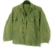 Vintage WWII Military HBT Jacket Shirt Uniform Coat Herringbone Twill Green SM