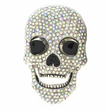 LAUGHING CRYSTAL SKULL BELT BUCKLE DAY OF THE DEAD RHINESTONE FIT SNAP BELT
