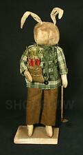 """Hand-Crafted 20"""" Primitive Grungy Bunny Rabbit With Carrots & Hoe On Wood Stand"""