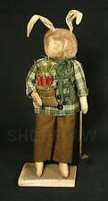 """Artist-Made 20"""" Primitive Grungy Bunny Rabbit With Carrots & Hoe On Wood Stand"""