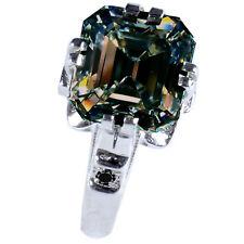 3.10ct VS2:-NATURAL BROWN GREEN EMERALD MOISSANITE DIAMOND SILVER RING