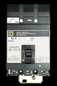 SQUARE D 50 AMP 25 kA TRIPLE POLE MCCB SFA3050 I-LINE