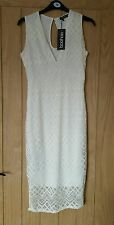 *BNWT* Boohoo Cream Lace/Crochet Bodycon Dress. UK 8