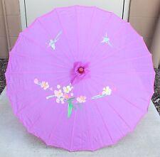 "22"" Inch tall Purple Floral Pattern Wood Bamboo Nylon Parasol Umbrella Decor"