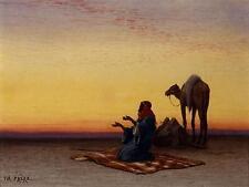Arab at Prayer CHARLES THEODORE FRERE Desert musulman camel Islam, 7x5 inch Print