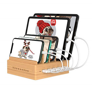 OthoKing Charging Station Bamboo with 5 Port Fast USB Phone Charging Stations 5