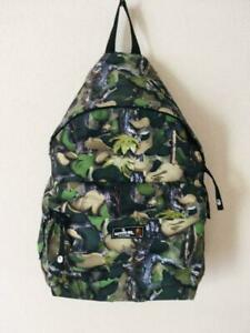 Auth A BATHING APE Camo Daypack Backpack Green x Black Used from Japan F/S