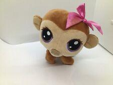 Littlest Pet Shop Brown Monkey Bobble Head Plush Animal Pink Bow Purple Eyes