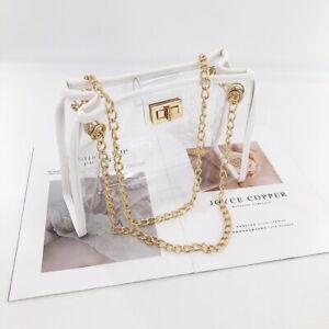 Transparent PVC Clear Purse Handbag Shoulder Bag Gold Clasp White Black Outline