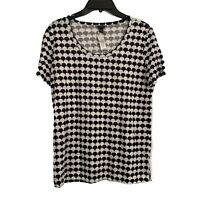 Ann Taylor Womens size Small Black White Scalloped Print Short Sleeve Linen Tee