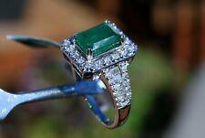 14k White Gold Emerald & Diamonds Ring by EFFY NWT Sz 7 Engagement Love Gift
