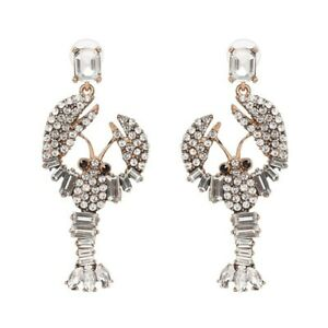 White Crystal Lobster Gold Drop Dangle Statement Earrings Party Fashion Woman