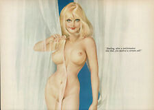 Vintage Alberto Vargas Girl Blonde Female Nude Pin Up Art 2-Page Print l