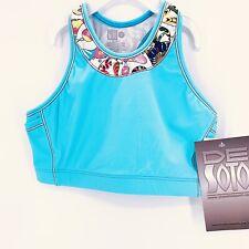 De Soto Femme Carrera Womens Bra Top w/ 2 Pockets Triathlon Sz S Tahitian Blue