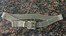 Women's Vintage Silver Tone Metal Mesh Belt With Buckle Sz M Woven Metal