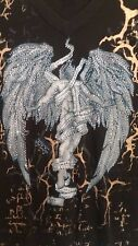 Royal Republic Mens XL Black Graphic Beaded Angel Shirt Fall From Grace