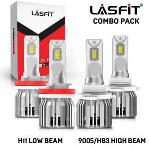 LASFIT LED Headlight Bulbs Conversion Kit 9005 H11 High Low Beam Bright White