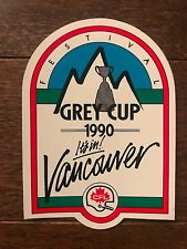 Grey Cup 1990 Vancouver Festival Promo Sticker Decal Winnipeg Blue Bombers Won