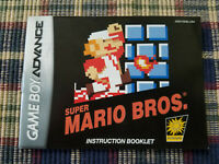Super Mario Bros - Authentic - Nintendo Game Boy Advance - GBA - Manual Only!
