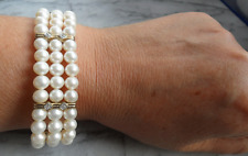 Diamond Bracelet Cuff Bangle ~ B0024 Vtg 9Ct Gold 3-Strand Cultured Pearl &