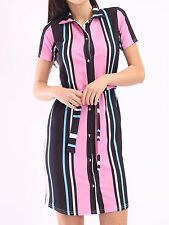 New Womens Ladies Pink stripe Button up Roll Tunic Top Shirt Dress Plus Size8-24