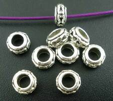 100 PCs Silver Tone Ring Charm Spacer Beads Findings 6x3mm