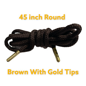 NEW Round Strings Shoe Laces 45``Inch Brown. Metal Tips Gold