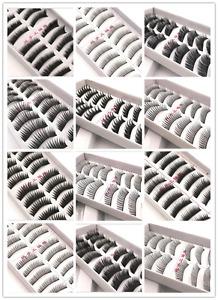 10 Pairs Long Thick Charming Eye Lashes Makeup Natural Black False Eyelashes