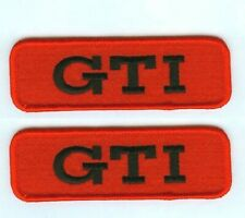 VW RACING TEAM GTI LOGO VW RACING PERFORMANCE PARTS VW GTI Red 2-TAB Iron-on SET